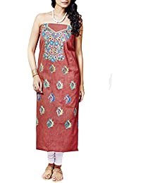 Gleamberry Women's - Cotton with Hand Embroidered Unstitched Kurti Material