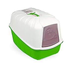 Toilette accessoriata MPS Komoda - Lettiera coperta, completa di porta basculante, paletta e filtro al carbone (Verde)