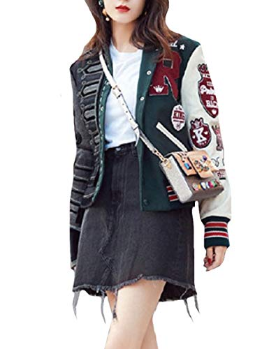 CuteRose Womens Slimming Patchwork Premium Embroidered Varsity Jackets Blackish Green S
