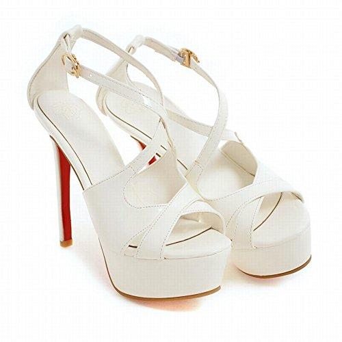 Mee Shoes Damen Stiletto open toe Lackleder Schnalle Sandalen Weiß