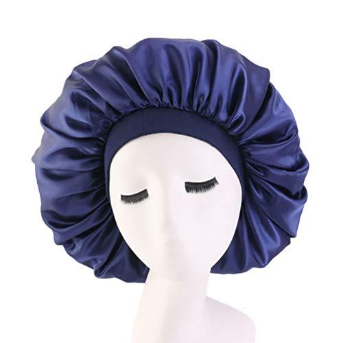 Anqeeso Große Schlafmütze Satin-Motorhaube Kopfbedeckung Haarpflege Hut Schlafende Haare Turbans für Frauen Gr. F, navy - Große Satin Motorhaube