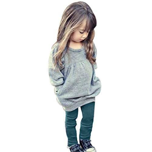 VoBambino Toddler Kids Girls Warm Long Sleeve Solid color long sleeved tops trousers 1Set (110/4anni)