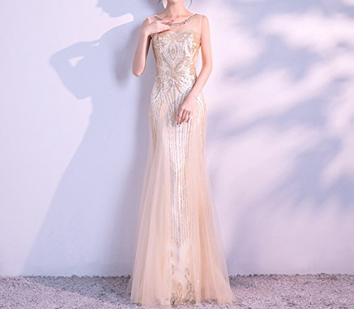HDHG Sommer-Mode-Schulter-Kleid-langes Braut-Toast-Kleid-Bankett-Abend-Kleid,Golden,XL