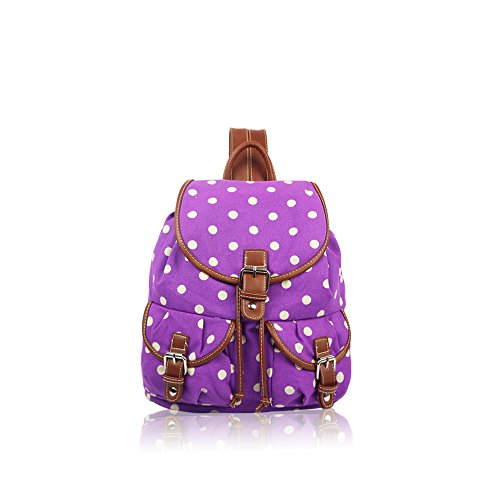 YourDezire ,  Unisex Erwachsene Schulrucksack Purple/Polka Dot