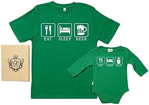 SR - Eat, Sleep, Drink - Ensemble de pour Père et bébé, Vert, XL & 0-6 mois