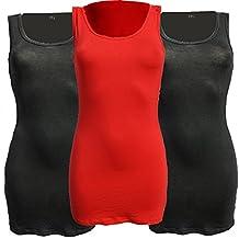 Tank Top Long Baumwolle Tailliertes Träger Shirt (2 x Schwarz 1 x Rot)