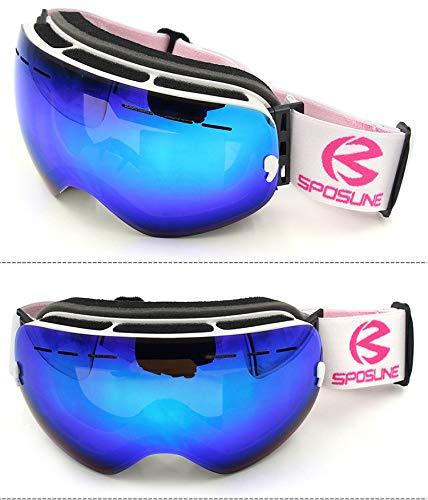 Yiph-Sunglass Sonnenbrillen Mode New Comprehensive REVO beschichteten großen sphärischen Spiegel Windproof Coca Brille Brille Skibrille Anti-Fog Anti-Fog-Männer Frauen (Color : Blue)