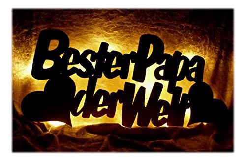 Schlummerlicht24 Für den Besten Papa der Welt mit Gruß Gravur, Deko Geschenke Lampe zum Vater-Tag für das Wohnzimmer + Schlafzimmer Geburtstag