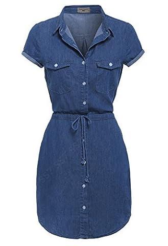 SS7 NEW Denim Blue Shirt Dress Sizes 8 - 14 (UK - 12, Denim Blue)