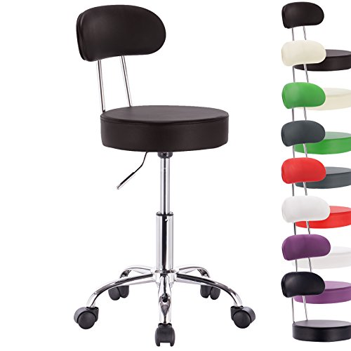 1 Stück Arbeitshocker Drehhocker Rollhocker Drehstuhl Hokcer Bürostuhl Stuhl mit Lehne Farbwahl e113