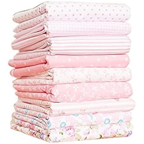 Tela de algodón que acolcha Shi Tong paquetes de tamaño Total 24 * 24 cm 9 piezas en un paquete de color rosa