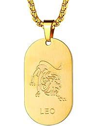 37eef0ec8787 FaitiHeart Astrología Medalla Ovalada Acero Inoxidable Collar de Horóscopo  para Hombre y Mujer Colgante de Identidad Joyería de Regalo…