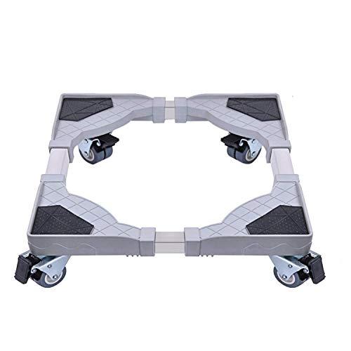 DEWEL Base de Réfrigérateur Socle Lave Linge Machine à Laver Stent Support avec 4 Roues Réglable 45 cm - 58 cm Charge 300 kg Prévention Réduction du Bruit Antichoc