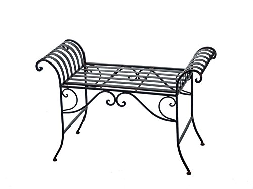 Nostalgie Gartenbank Metall Sitzbank antik Stil Bank Hocker garden bench