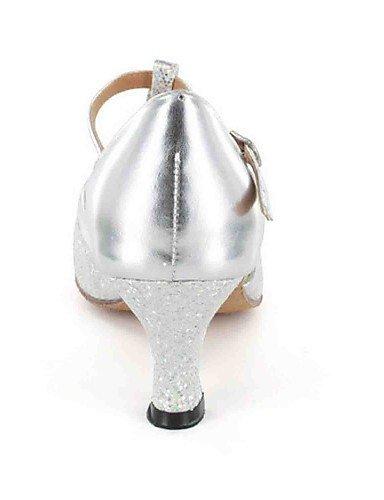 ShangYi Chaussures de danse(Noir / Bleu / Argent / Gris / Or) -Personnalisables-Talon Personnalisé-Similicuir-Latine Silver