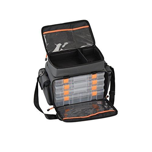 Savage Gear Lure Specialist Bag M Angeltasche inkl. 6 Angelboxen , Anglertasche für Kunstköder & Angelköder, Ködertasche, Angelbox, Köderbox