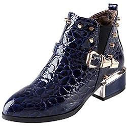 Luckycat Remache Botas Mujer Martain Botines Zapatos de Tacón Alto Botas Mujer Invierno Martain Boot Zapatos con Cordones de Cuero Botines Mujer Tacon Plataforma Zapatos