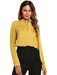 ba59d2fa9b Meaneor Camisa De Gasa Mujer con Cuello V Sólido Colores Manga Larga  Elegente Causal