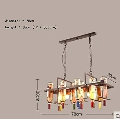 Art Glass Vintage Tisch Lampe (Vintage Schmiedeeisen Bar Weinflasche Kronleuchter, antiken industriellen Stil Pendelleuchte Leuchte für Gang Restaurant Cafe Bekleidungsgeschäft-D)