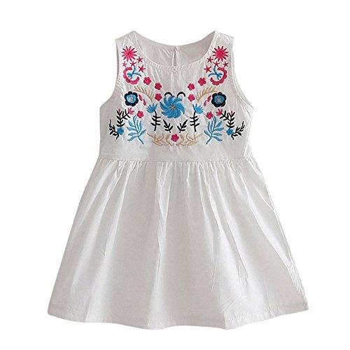 Baby Mädchen Kleidung Set JYJM Mädchen Sommer Mode Mädchen Rock Blus bestickt ärmellose Prinzessin Kleid kurzärmelige lange Abschnitt Jacke Weste Rock Kleider Jumpsuit Outfit (Größe: 5 Jahre, Weiß) (Robe Bett-jacke)
