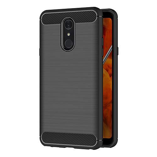 AICEK Compatible LG Q Stylus Hülle, Schwarz Silikon Handyhülle für LG Q Stylus Schutzhülle Karbon Optik Soft Case (6,2 Zoll)