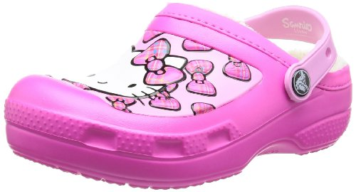 Crocs Creative Crocs Hello Kitty Bow Lined, Mädchen Clogs, Pink (Neon Magenta), 29/31 EU