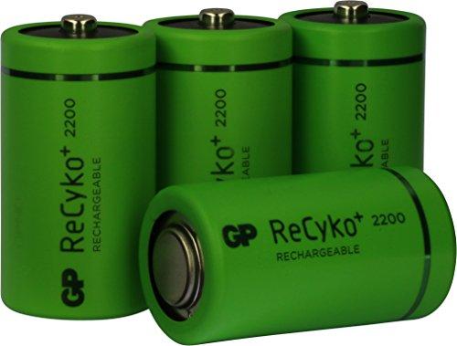 Akku Batterien C / Baby, NiMH Akkubatterien mit ReCyko+ LSD Technologie, Ready2Use, bereits vorgeladen, Typ Babyzelle HR14 wiederaufladbar, Kapazität 2200mAh, 1,2V (1,2 Volt) 4 Stück Original GP Batteries Markenware