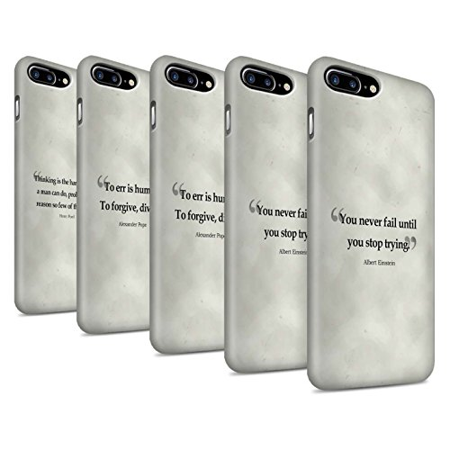STUFF4 Matte Snap-On Hülle / Case für Apple iPhone 8 Plus / Stephen Hawking Muster / Berühmte Zitate Kollektion Pack 9pcs