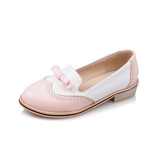 VogueZone009 Damen Weiches Material Ziehen Auf Rund Zehe Niedriger Absatz Pumps Schuhe Pink