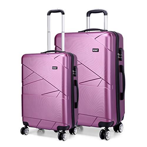 Kono Ensemble de 2 valises en PC Rigide Valise légère avec Cabine à 4 roulettes + Grand Ensemble (Violet)