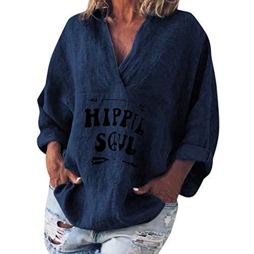 LUGOW Langarmshirts Damen V-Ausschnitt Bluse Lose Bettwäsche aus Baumwolle Tee Shirts Sweatshirts Langarm Tops T-Shirt Poloshirts Blusen Pullover Online Sale(Medium,Marine) -