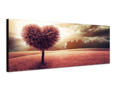 Panoramabild auf Leinwand und Keilrahmen 120x40cm Wiese Baum Herz abstrakt Wolkenhimmel