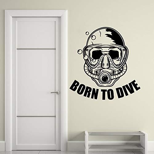 zqyjhkou Adesivo da Parete Rimovibile Diving Club Decor Diver Skull Adesivo da Parete in Vinile Home Bathroom Decor Dive Lover Adesivo murale 42x43cm