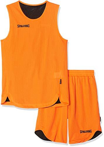 Spalding Kinder Bekleidung teamsport Doubleface Trikot set, 300401006, Mehrfarbig (orange/Schwarz), 140 cm, Gr. 152 - Basketball Kostüm Für Jungen