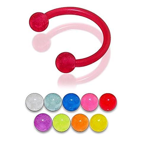 Bijou Piercing Labret circulaire pour lèvres 16Gx1/4 (1.2x6MM) Bioflex avec Boule UV brillant dans la nuit 3MM Lot de 10 pièces couleurs assorties