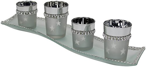 Decoline Teelicht-Gläser 4 Stück mit Glasplatte