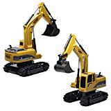 samLIKE Remote Control Excavator Toy,Metal Diecast Excavator Construction Truck Tractor Model, Free Wheeler Die Cast Car,Gifts for Boys Girls (brown)