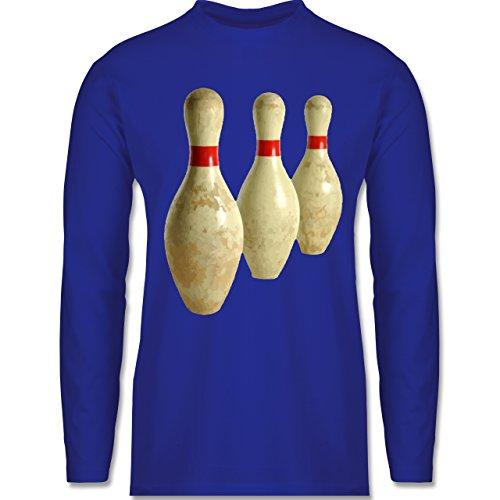 Shirtracer Bowling & Kegeln - Alte Pins Kegel Vintage - Herren Langarmshirt Royalblau
