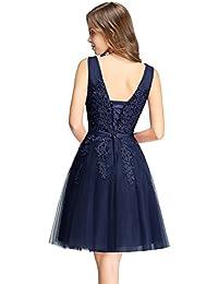 MisShow Damen Prinzessin Tüll V-Ausschnitt Brautjunfernkleid Applique Ballkleid Abendkleid Rückenfrei Kurz Gr.32-46
