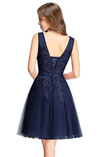 MisShow Damen V-Ausschnitt Tüll Ballkleider mit Blumenstickerei rückenfrei knielang Navy Blau 32