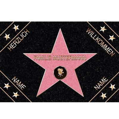 Eule-Design.de Fußmatte Walk of Fame mit Namen Ihr personalisiertes Geschenk für Familie Paare Männer Frauen Hollywood Stern Star (60x40)