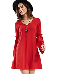 Young17 Femme Robe Rouge Causual Encolure V Flute Sleeve A-Line