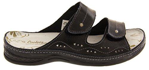 Refroidisseurs en cuir pour femme Fermeture Velcro pour Chaussures Sandales plates été Sz-Taille 4/5/6/7/8 Noir - noir