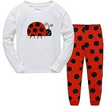 """Babygp dos conjuntos de pijama de """"rana"""" """"mariquita"""" """"jirafa"""" """"Sirena"""" para los niñas de algodón 100% (2-12 años)"""