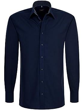 Eterna Herrenhemd Herren Baumwoll Hemd Baumwollhemd Business Freizeit Langarm Modern Fit Blau