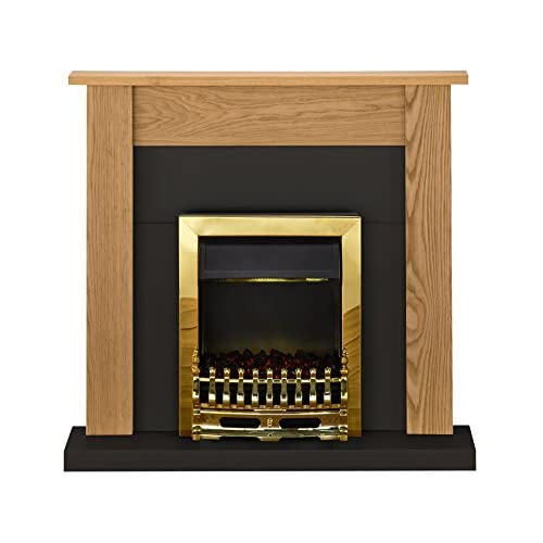 41hv2TatFmL. SS500  - Adam Southwold Fireplace Suite in Oak and Black with Blenheim Electric Fire in Brass, 43 Inches