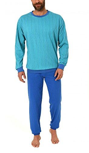 Gestreifter Herren Pyjama langarm mit Bündchen 171 101 90 402, Farbe:türkis;Größe:50 (Herren-pyjama Gestreifter)