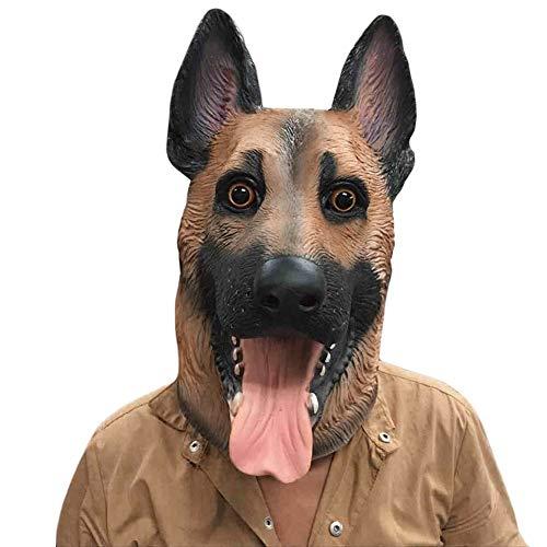 ZHANGDONGLAI Hundekopf Latex Maske Vollgesichtsmaske Erwachsene Atmungsaktive Halloween Maskerade Kostümfest Cosplay Kostüm Schöne Tier Maske