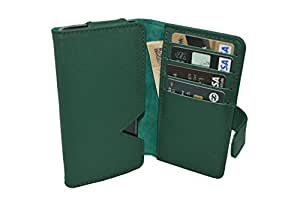 TOTTA PU Leather Wallet Pouch with Card Holder For Onida I502- GREEN