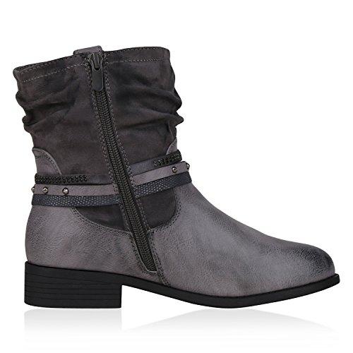 napoli-fashion Damen Stiefeletten Stiefel Biker Boots Nieten Warm Gefüttert Schuhe Jennika Grau Nieten